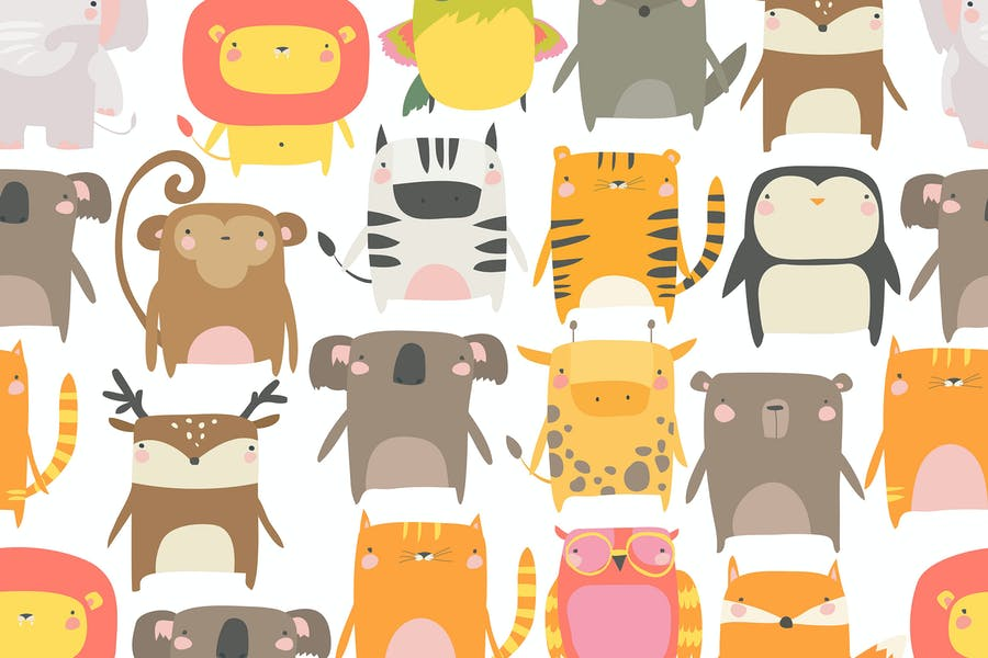 Vector seamless pattern with cute animals on white