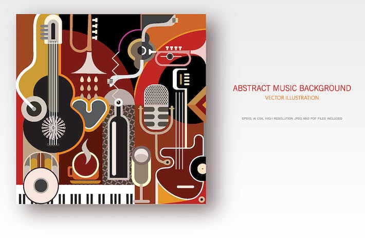 Thumbnail for Abstract Music Background vector illustration