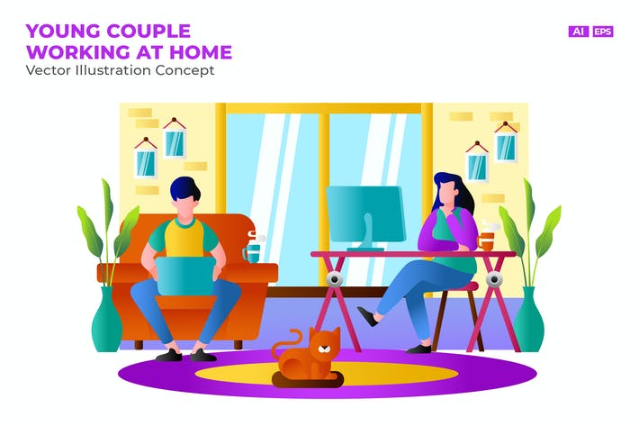 Thumbnail for Young Couple Working At Home Flat Vector