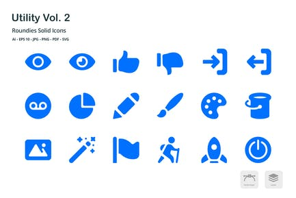 Utility Vol. 2 Roundies Solid Glyph Icons