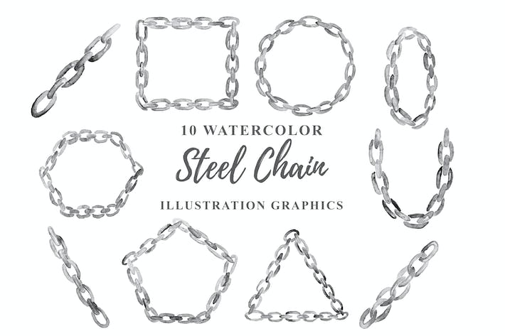 Thumbnail for 10 Watercolor Steel Chain Illustration Graphics