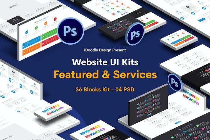 Thumbnail for Website Featured & Services - 36 Blocks UI Kit