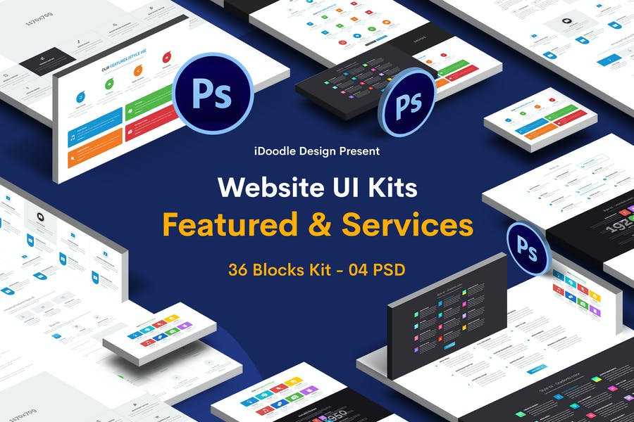 Website Featured & Services - 36 Blocks UI Kit