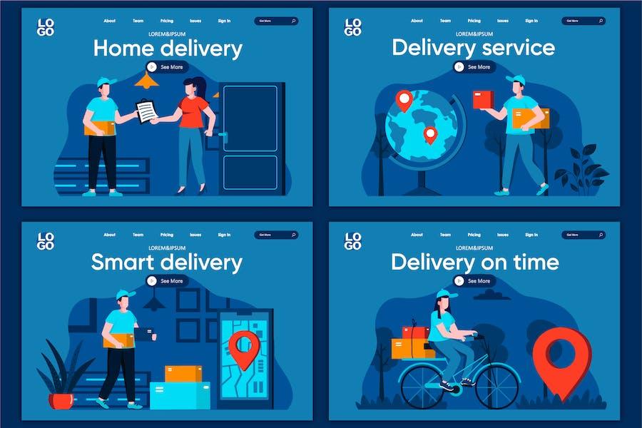 Modèle de page d'accueil Concept de livraison