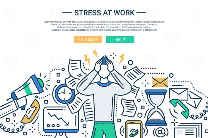 Thumbnail for Stress at work - line flat design website banner