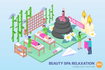 Isometric Beauty Spa Relaxation Vector Concept