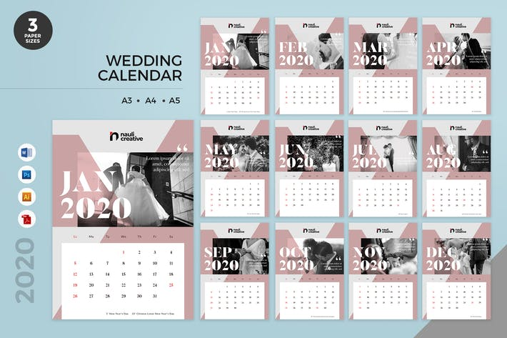 Thumbnail for Wedding Calendar 2020 Calendar - AI, DOC, PSD