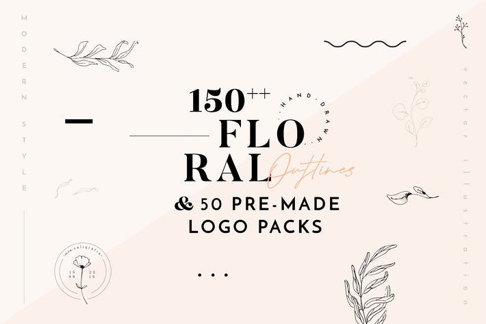 Thumbnail for Floral Outline Illustration & Logo Pack