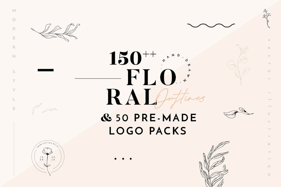 Floral Outline Illustration & Logo Pack