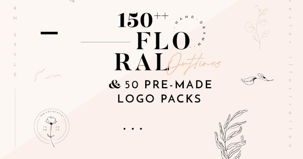 Download Floral Outline Illustration & Logo Pack by august10