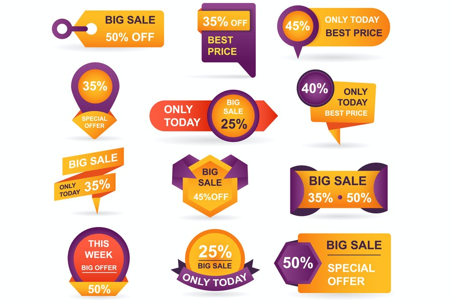 Retail Sale Tags Stickers Best Offer