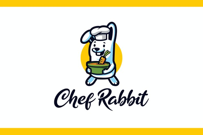 Thumbnail for Cartoon Chef Rabbit Mascot Logo