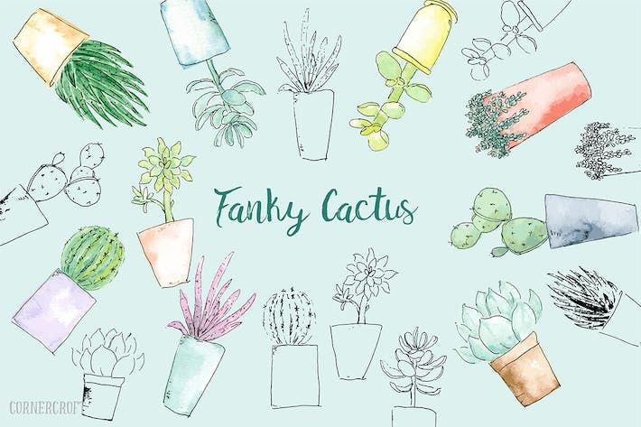 Thumbnail for Watercolor Funky Cactus Vector