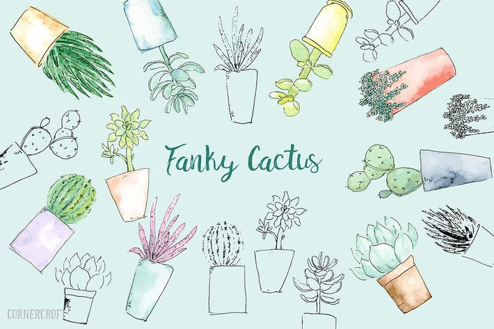 Cover Image For Watercolor Funky Cactus Vector