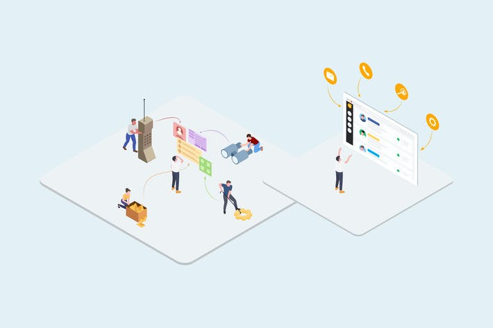 Thumbnail for Sale Team - CRM Platform Isometric Illustration