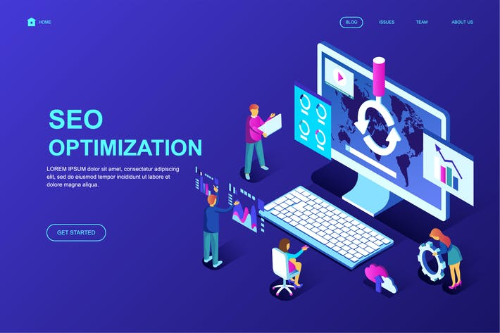 Thumbnail for Seo Analysis Isometric Landing Page Template
