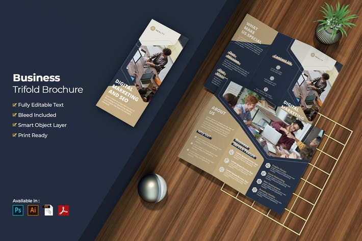 Thumbnail for Business Digital Marketing Trifold Brochure