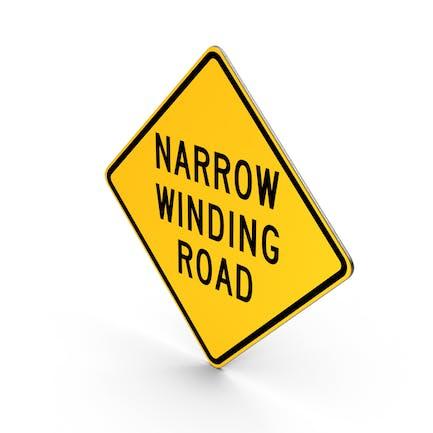 Schmales, kurvendes Straßenschild