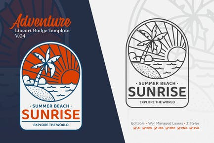 Adventure Monoline Logo Badge Template V.04