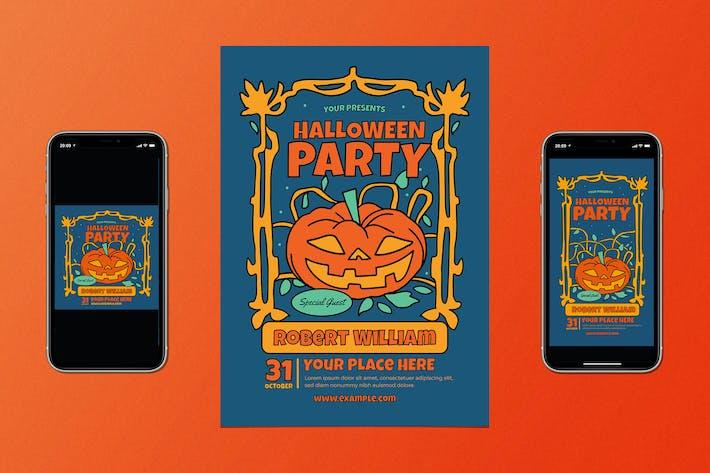 Thumbnail for Retro Halloween Party Flyer Set