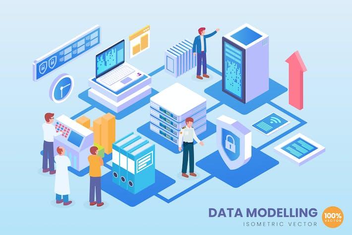 Thumbnail for Isometric Data Modelling Vector Concept