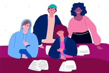 Schüler auf einer Lektion - flaches Design Illustration