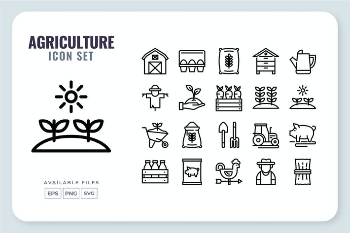 Agriculture Line Icon Set