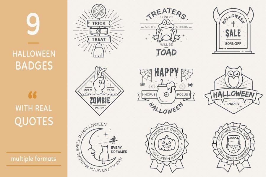Halloween Badges - Outline Version