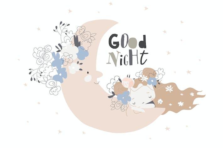 Thumbnail for Nettes Mädchen, das auf dem Mond zwischen den Sternen schläft.  Vektor