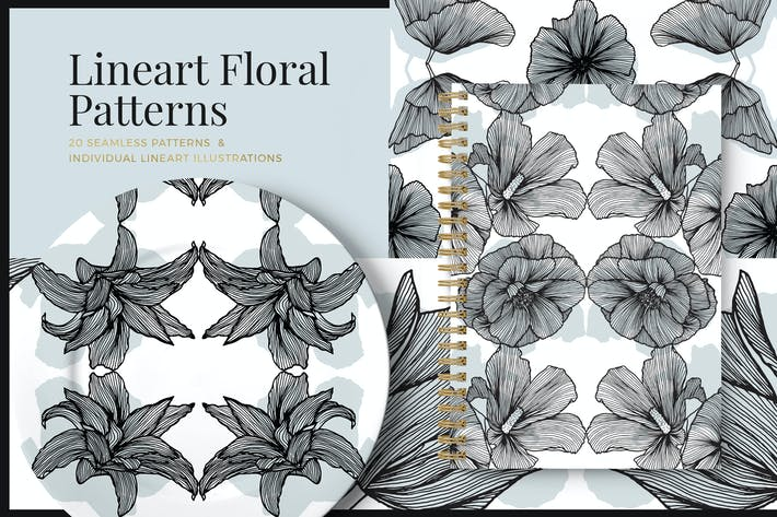 Thumbnail for Lineart Floral Patterns & Elements