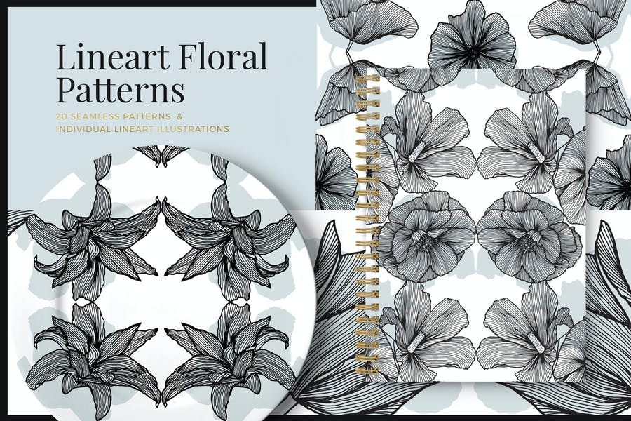 Lineart Floral Patterns & Elements
