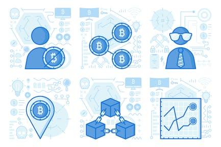 Bitcoin Block UI UX Illustrations