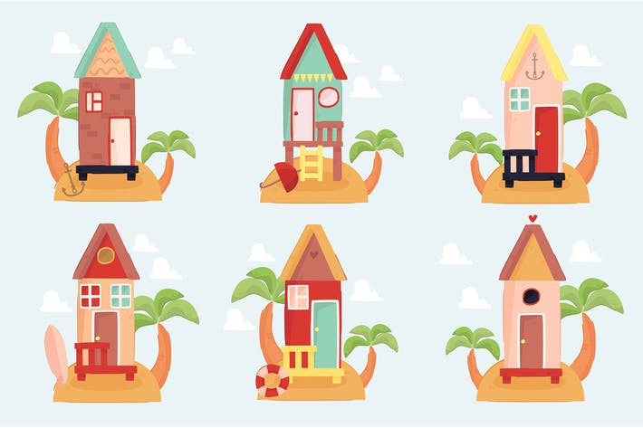 Beach Houses Illustration Collection