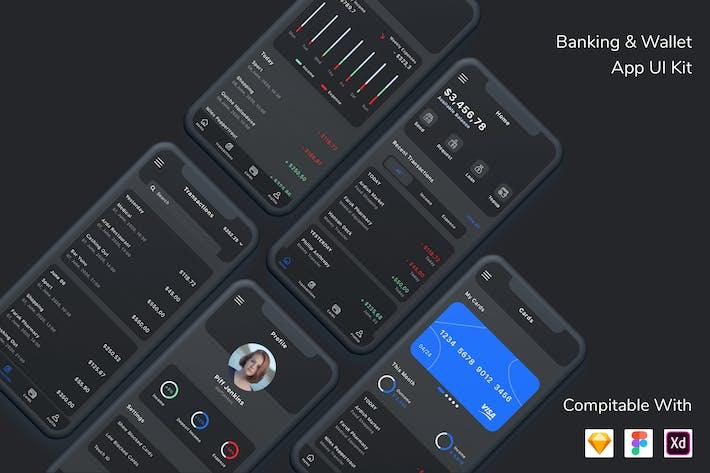 Thumbnail for Банковский и кошелек Приложение UI Kit Темный режим