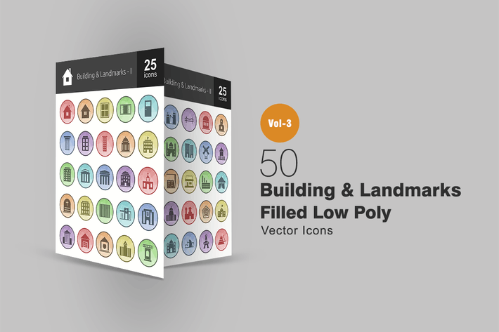 Thumbnail for 50 Buildings & Landmarks Filled Low Poly Icons