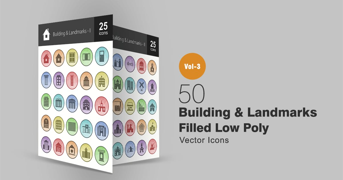 Download 50 Buildings & Landmarks Filled Low Poly Icons by IconBunny
