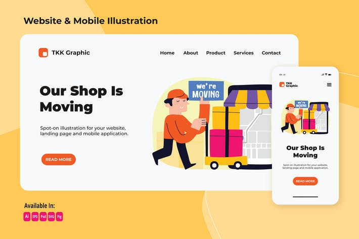 Thumbnail for Shop moving announcement web and mobile