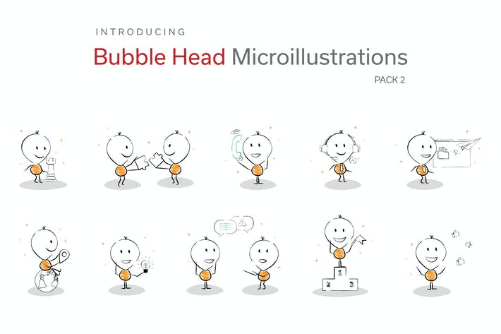 Thumbnail for Bubble Head Micro Illustrations - Startup Pack