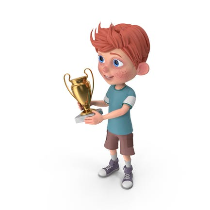 Cartoon Boy Charlie Holding Prize Cup