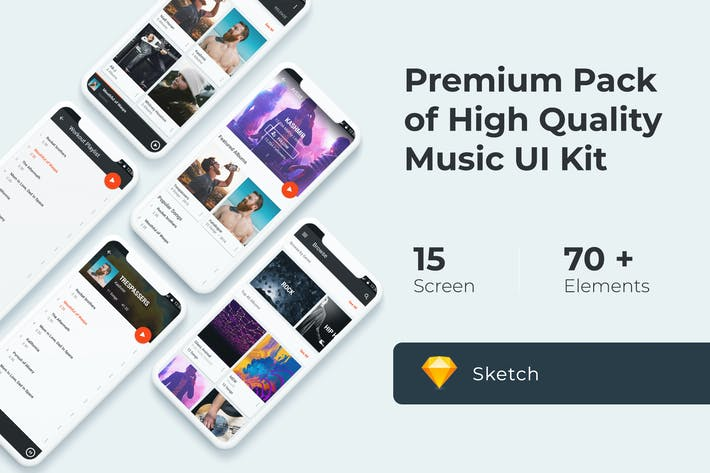 Thumbnail for Music Multimedia UI KIT for Sketch