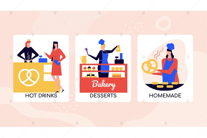 Thumbnail for Bakery desserts shop colorful banners