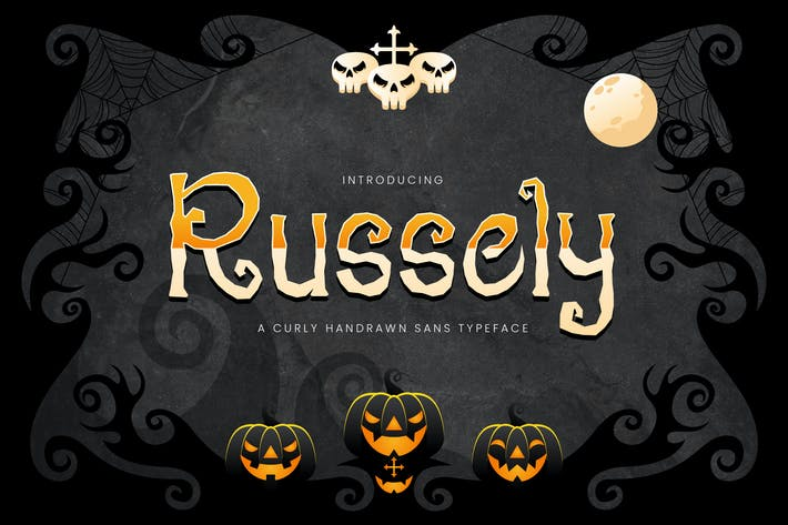 Thumbnail for Russely - Curly Handrawn Halloween Font