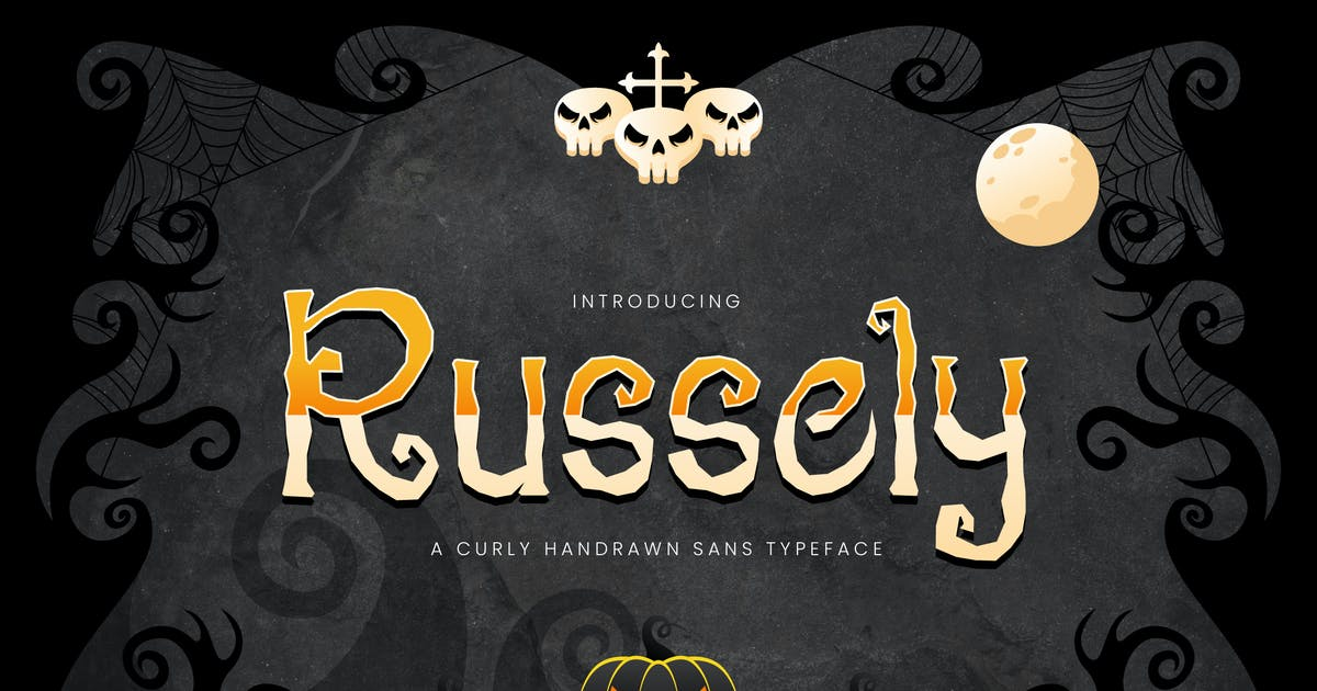 Download Russely - Curly Handrawn Halloween Font by naulicrea