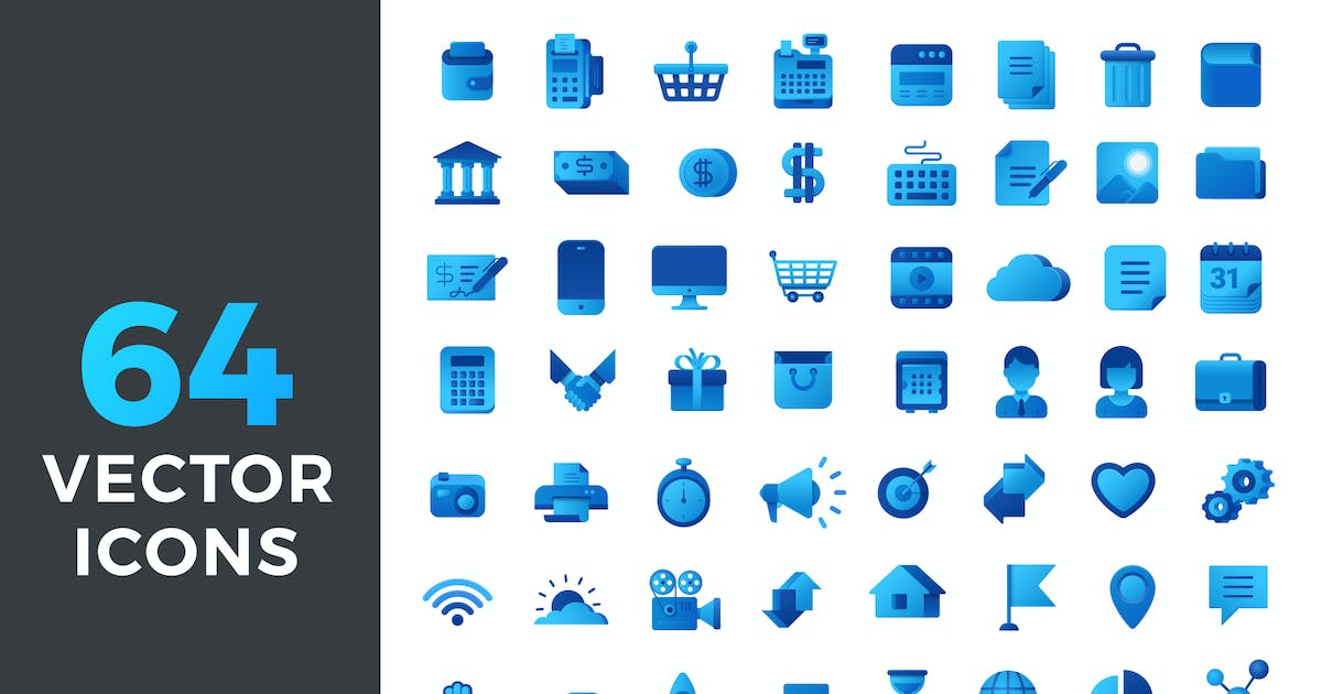 Download Vector Icons Flat Blue style by Sentavio