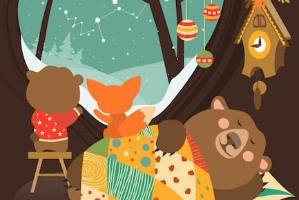 Lindo oso y Pequeño zorro viendo la Nieve de la guarida