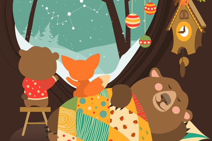 Thumbnail for Cute bear and little fox watching snow from den