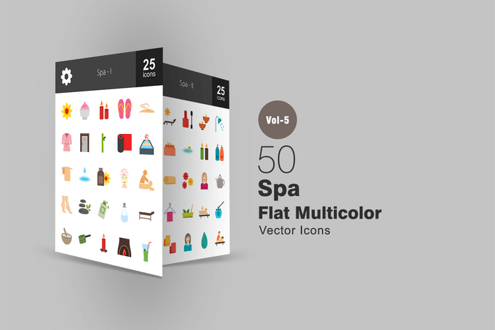 Thumbnail for 50 Spa Flat Multicolor Icons