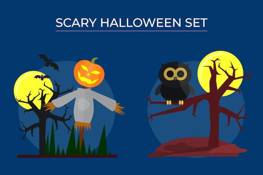 Страшный набор Хэллоуина - Вектор иллюстрация