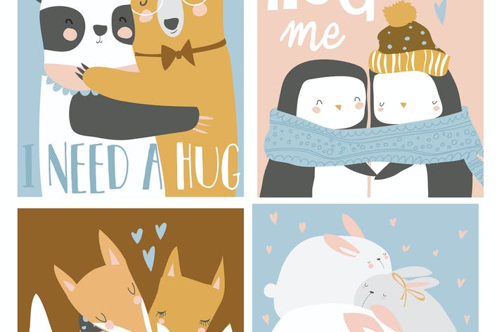Thumbnail for Vector set of colored cartoon animals hugging