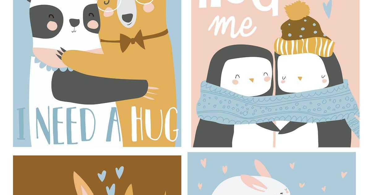 Download Vector set of colored cartoon animals hugging by masastarus